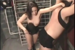 brunette dominates her boyfriend with whip and