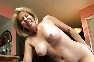 golden-haired granny sucks on wang then acquires