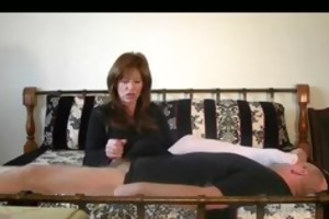 female-dom got her hands on mans rod and her feet
