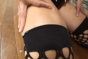 japanese babe in mesh nylons chokes on cock