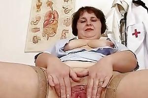 indecent chunky mama strips nurse uniform