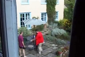 older fuck in the garden, anal, double penetration