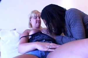 blonde older housewife tries large darksome