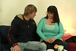 he is drills her overweight old fur pie