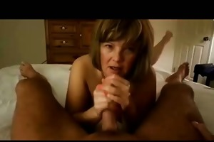 mature cook jerking on the daybed
