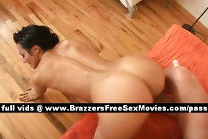 talented hot brunette hair chik on the ottoman