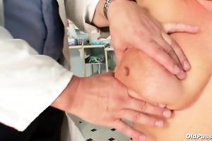 obese aged radka acquires real speculum exam by