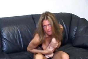 jerky teacher got sex-toy betwixt her love melons