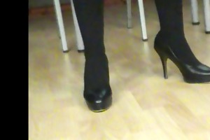 aged lady in hawt leather darksome high heels