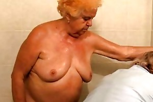 older bathing granny previous to getting drilled