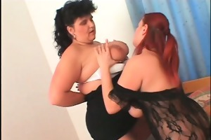 big beautiful woman lesbian in hose receives twat