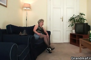 lascivious granny takes dongs at one time