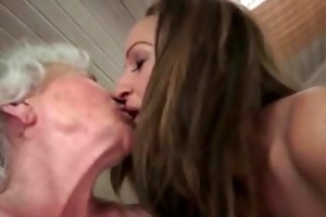 lesbo sex betwixt grannie and nubiles