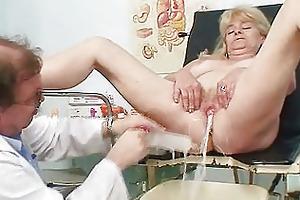 blonde grandma perverted cunt exam with enema
