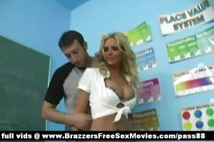 breasty golden-haired schoolgirl receives her