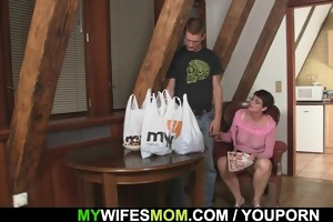 nasty mother in law jumps on his dick