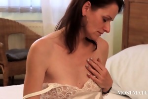 slender mature playing with hot assets
