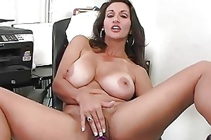 enormous chested dark brown milf plays with