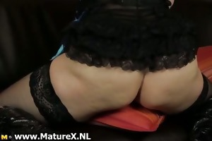 horny golden-haired housewife with glasses