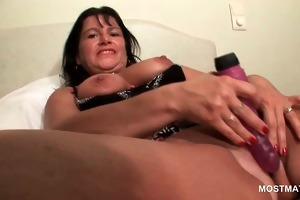 brunette concupiscent aged masturbating wet crack