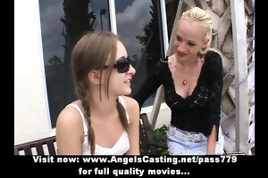 awesome dilettante blond and redhead lesbo