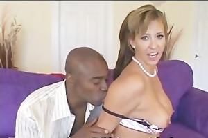 hottie worships giant darksome cock
