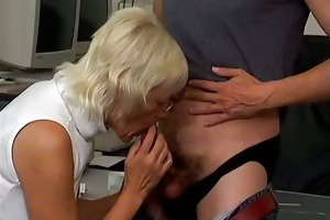 blond grandma engulfing of a favourable