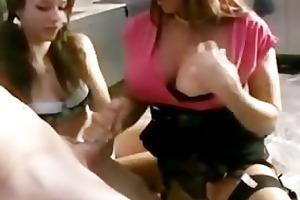 mum teaches daughter how to tug ramrod