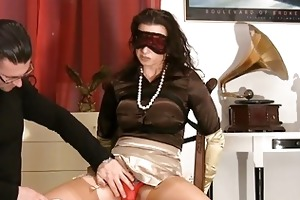 mother i in satiny nylons acquires blindfolded